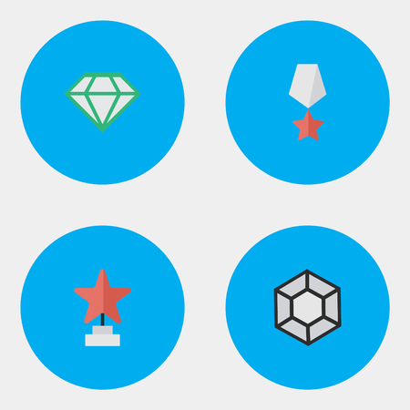 Vector Illustration Set Of Simple Prize Icons. Elements Brilliant, Gemstone, Premium And Other Synonyms Premium, Prize And Award.
