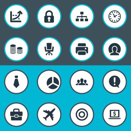 Illustration vectorielle définie des icônes de tâches simples. Cercle des éléments, machine à imprimer, valise et autres synonymes Banque d'images - 85614580