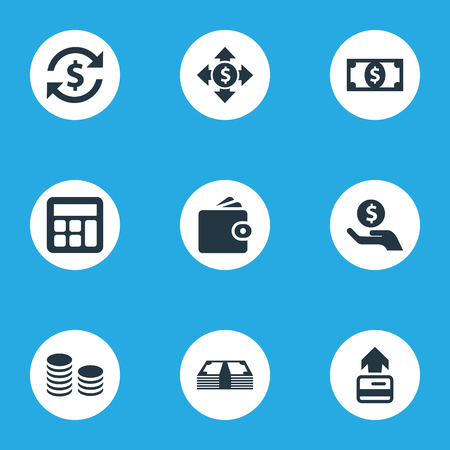 Vector Illustration Set Of Simple Money Icons. Elements Interest, Rich, Exchange And Other Synonyms Exchange, Transfer And Business.
