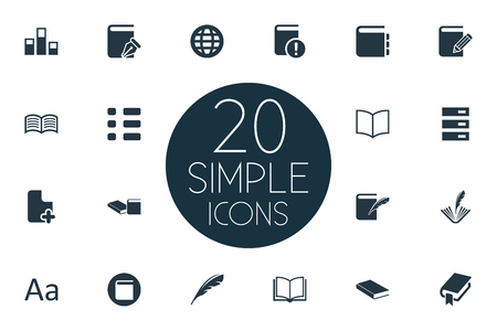 Vector Illustration Set Of Simple Reading Icons. Elements Stack, Plume, List And Other Synonyms Organisation, Archive And Quill. Illustration