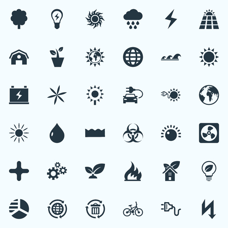 Vector Illustration Set Of Simple Green Icons. Elements Cogwheel, Blossom, Solar Energy And Other Synonyms Gear, Panel And Houseplant.