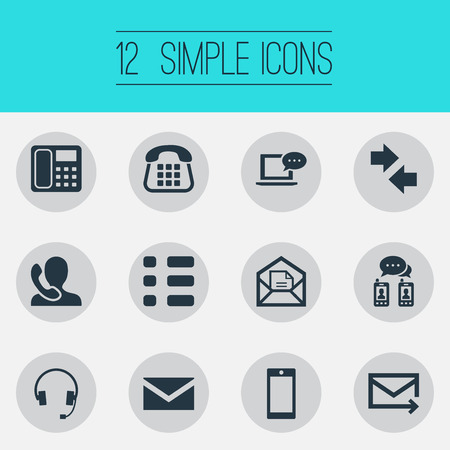 Vector Illustration Set Of Simple Connect Icons. Elements Messaging, Correspondence, Speaking Human And Other Synonyms Communicator, Mobile And Checkbox.