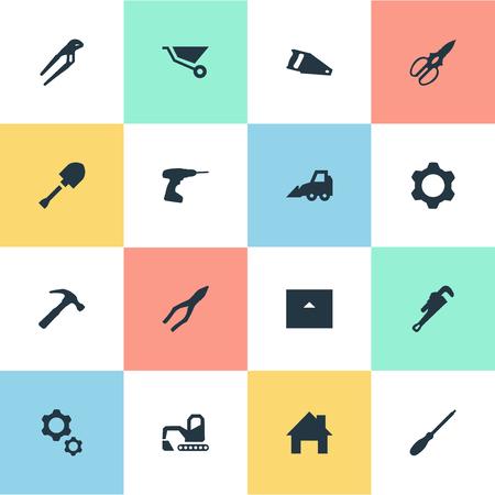 Vector illustratie Set van eenvoudige industriële iconen. Elements Handsaw, House, Mechanic Key Synoniemen Hand, Cutting and Jaws. Stock Illustratie