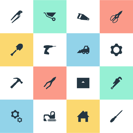 Vector Illustration Set Of Simple Industrial Icons. Elements Handsaw, House, Mechanic Key Synonyms Hand, Cutting And Jaws.