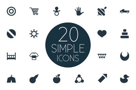 Vector Illustration Set Of Simple Infant Icons. Elements Soother, Clyster, Sparkler And Other Synonyms Medicine, Sphere And Soother. Illustration