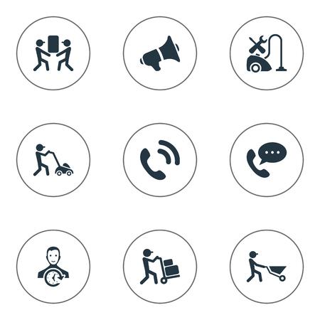 Vector illustratie Set van eenvoudige Help-pictogrammen. Elements Builder, Courier, Notice And Other Synoniemen Help, Notice And Employee.