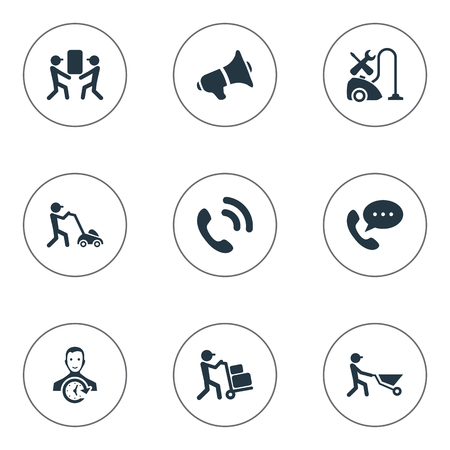 Vector Illustration Set Of Simple Help Icons. Elements Builder, Courier, Notice And Other Synonyms Help, Notice And Employee.