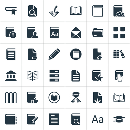 Vector Illustration Set Of Simple Reading Icons. Elements Document Archive, Catalog, Plus Text And Other Synonyms Feathered, Tag And Hanging.