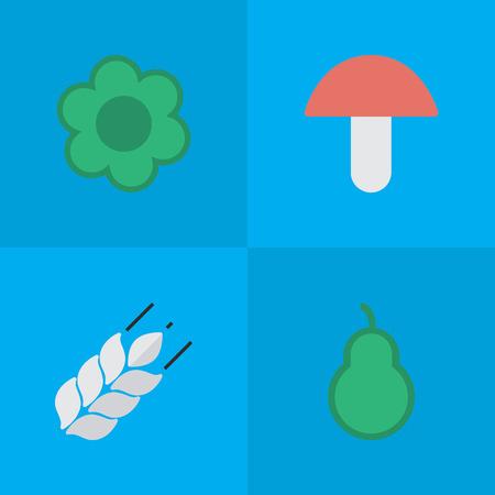 簡単な園芸アイコンのベクター イラスト セット。要素トウモロコシ、サンドバッグ、菌類、他の同義語菌、小麦とパンチします。