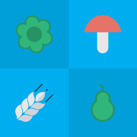 Vector Illustration Set Of Simple Horticulture Icons. Elements Corn, Punching Bag, Fungus And Other Synonyms Fungus, Wheat And Punching. Illustration