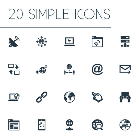 Vector Illustration Set Of Simple Web Icons. Elements Loading, Communication, Network Sharing And Other Synonyms Envelope, Search And Spreading. 向量圖像