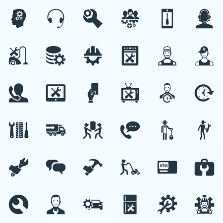 vector illustration set of simple service icons elements car