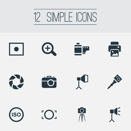 Vector Illustration Set Of Simple Photograph Icons. Elements Flame Instrument, Photo Tape, Light Level And Other Synonyms Image, Augment And Copier. Illustration