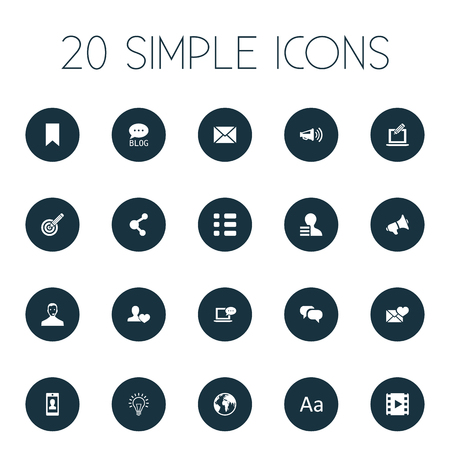 Vector Illustration Set Of Simple User Icons. Elements Operator, Film, Valentine And Other Synonyms Post, Loudspeaker And Typography. Illustration