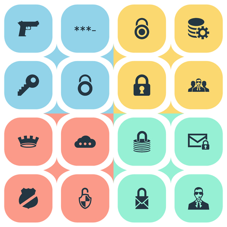Vector Illustration Set Of Simple Protection Icons. Elements Top Secret, Corona, Locker And Other Synonyms Locker, Database And Gun.
