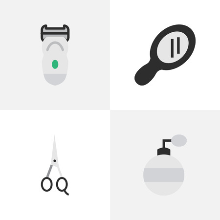 Vector Illustration Set Of Simple Barber Icons. Elements Scissors, Electronic, Fragrance And Other Synonyms Shear, Machine And Clippers.