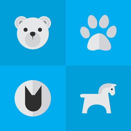 Conjunto de ilustração vetorial de ícones simples animais. Elementos Panda, Tomcat, Steed Sinônimos Panda, Animal And Cat. Foto de archivo - 85614686