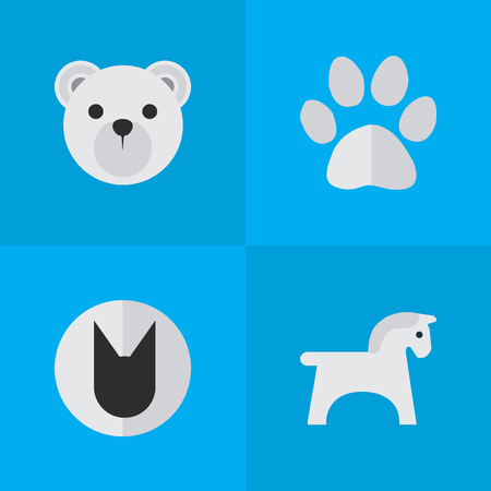 Vector Illustration Set Of Simple Animals Icons. Elements Panda , Tomcat, Steed Synonyms Panda, Animal And Cat.