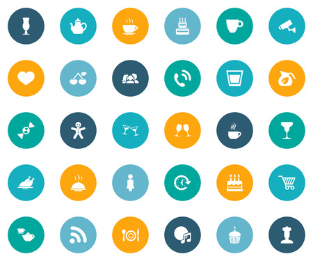 Vector Illustration Set Of Simple Restaurant Icons. Elements Compact Disc, Surveillance, Parents And Other Synonyms Pot, Tray And Table.