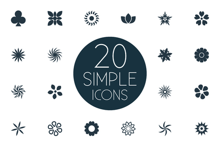 Vector Illustration Set Of Simple Flower Icons. Elements Fuji, Lucky Leaf, Tulip And Other Synonyms Florist, Peonies And Blossom.