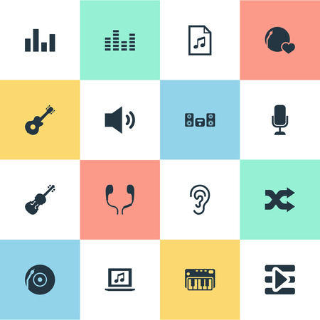 Vector Illustration Set Of Simple  Icons. Elements Equalizer, Amplifier, Record And Other Synonyms File, Recorder And Listening. Illustration