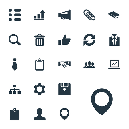 Vector Illustration Set Of Simple Conference Icons. Elements Fastener, Note Pad, Textbook And Other Synonyms Staff, Tie And Pin.