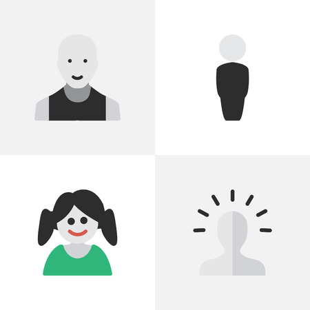 gender identity: Vector Illustration Set Of Simple Profile Icons. Elements Man, Person, Contour And Other Synonyms Boy, Female And Profile.