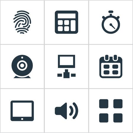 벡터 일러스트 레이 션 간단한 디지털 아이콘의 세트입니다. 요소 지문, 네트워크, 장치 및 기타 동의어 추가 Videochat, Table and Day.