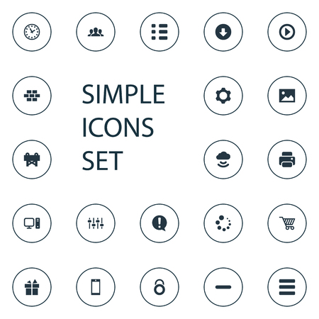 Vector Illustration Set Of Simple Design Icons. Elements Remove, Present, Task And Other Synonyms Web, PC And Loading.