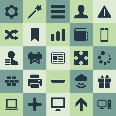 Vector illustratie Set van eenvoudige interface pictogrammen. Elements Reconstruction, Add, Designer And Other Synoniemen Onderwijs, laden en persoonlijk. Stock Illustratie