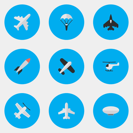 Vector Illustration Set Of Simple Aircraft Icons. Elements Aircraft, Bomb, Flying Vehicle And Other Synonyms Craft, Man And Copter.