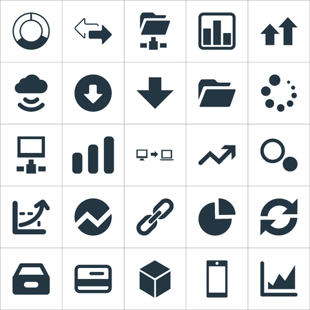 Vector Illustration Set Of Simple Business Icons. Elements Database, Hexagon, Circular Diagram And Other Synonyms Economy, Shape And Loading. Çizim