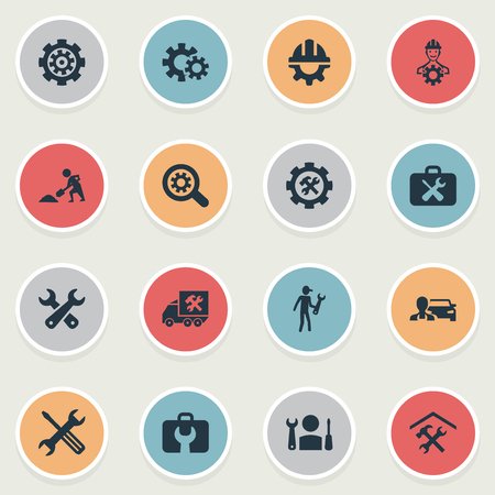 Vector Illustration Set Of Simple Repairing Icons. Elements Magnifier, Maintenance, Worker And Other Synonyms Van, Gear And Hammer. Illustration