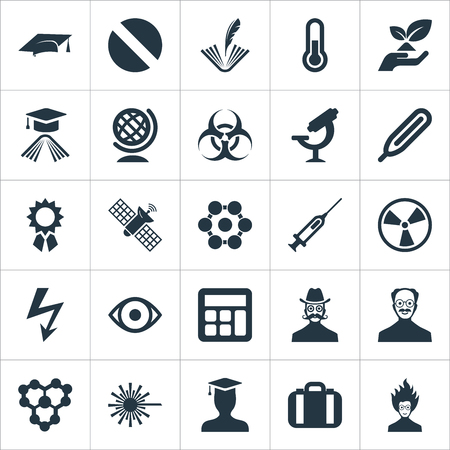 Vector Illustration Set Of Simple Science Icons. Elements Ecology, Globe, Cooler And Other Synonyms Temperature, Mad And Wind.
