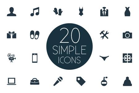 Vector Illustration Set d'icônes instrument simple. Tuxedo d'éléments, microphone, personne et autre appareil de synonymes, gantelet et slips. Banque d'images - 85693314