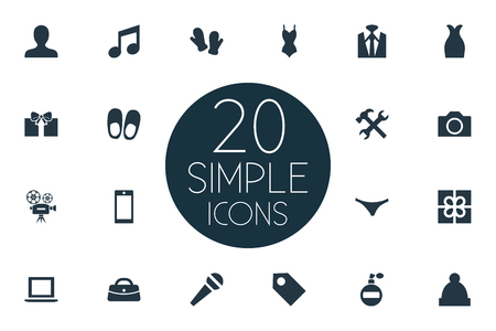 Vector Illustration Set Of Simple Instrument Icons. Elements Tuxedo, Microphone, Person And Other Synonyms Apparatus, Gauntlet And Underpants. Illusztráció