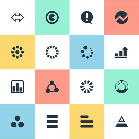 벡터 일러스트 레이 션 간단한 차트 아이콘의 집합입니다. 요소 반대 화살표, 사정, 작업 및 기타 동의어 다이어그램, 그래픽 및 조각.