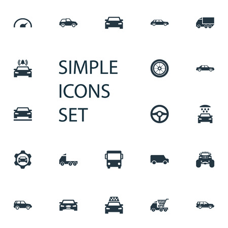 Vector Illustration Set Of Simple Transport Icons. Elements Commerce, Cab, Steering Wheel And Other Synonyms Truck, Drive And Trucks.