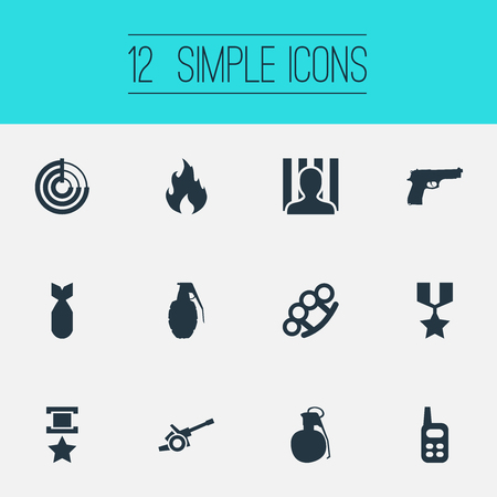 Vector Illustration Set Of Simple War Icons. Elements Jailer, Medal, Bombshell And Other Synonyms Flame, Sniper And Fire.