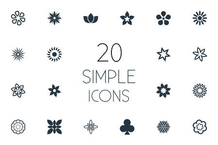Ilustración vectorial Conjunto de iconos de flores simples. Elementos Hibiscus, ornamento, Narciso y otros sinónimos Bahía, flores y Daphne. Foto de archivo - 85693325