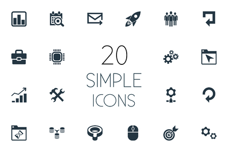 Vector Illustration Set Of Simple SEO Icons. Elements Construction, Database Distribution, Missile And Other Synonyms Bind, Folder And Group. Illustration