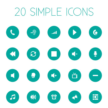 Vector Illustration Set Of Simple Sound Icons. Elements Plus, Increase, Musical Symbol And Other Synonyms Silence, Collection And Telephone. Illustration
