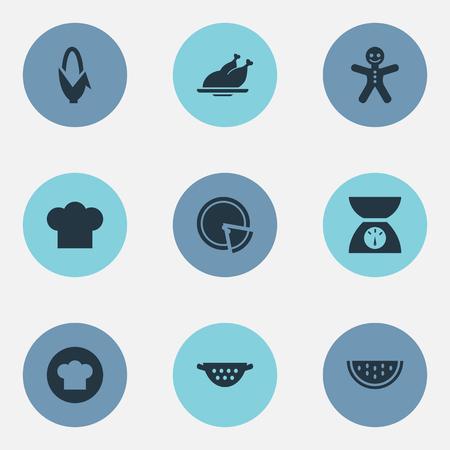 벡터 일러스트 레이 션 간단한 주방 아이콘의 집합입니다. 요소 비늘, 옥수수, 균일 한 요리 및 다른 동의어 요리, 슬라이스 및 쿠키. 일러스트