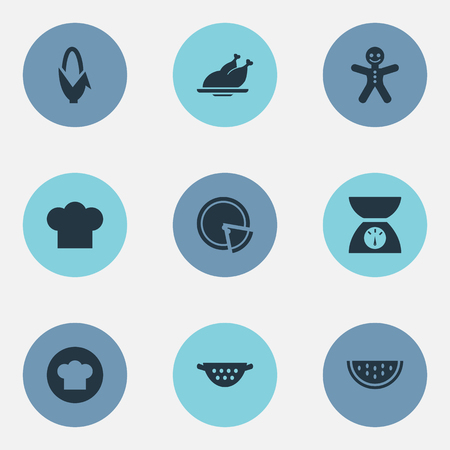Vector Illustration Set Of Simple Kitchen Icons. Elements Scales, Maize, Cooking Uniform And Other Synonyms Cooking, Slice And Cookies. Illustration