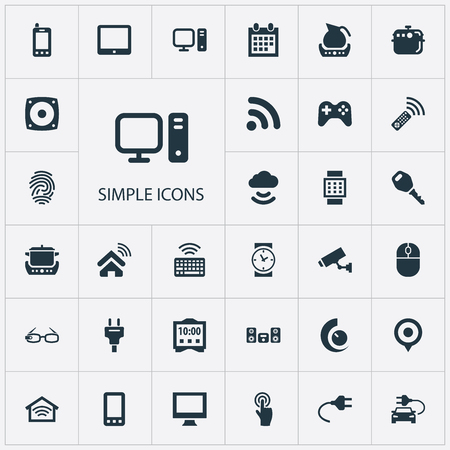 Vector Illustration Set Of Simple Web Icons. Elements Pin, Clock, Tv Adjusting And Other Synonyms Control, Computer And Multimedia.