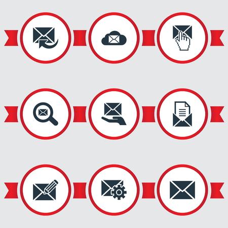 シンプルなメールアイコンのベクトルイラストセット。要素クラウド、入力、更新およびその他の類義語郵便、シークとストレージ。
