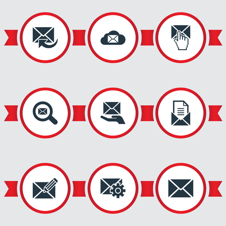 Vector Illustration Set Of Simple Mailing Icons. Elements Cloud, Entering, Renewed And Other Synonyms Postal, Seek And Storage.