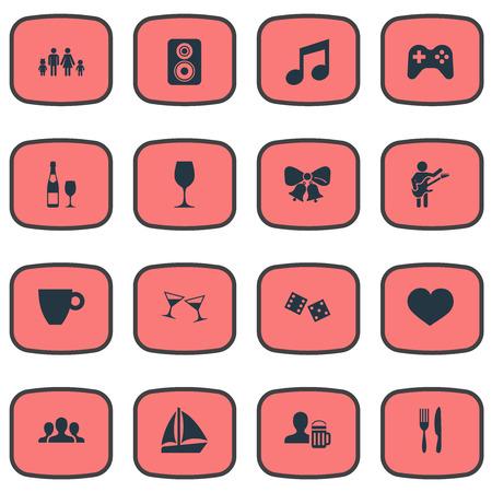 Illustration vectorielle définie des icônes de banquet simple. Elements Speaker, Mug, Celebration Et Autres Synonymes Décoration, Bière Et Coupe. Banque d'images - 85693367