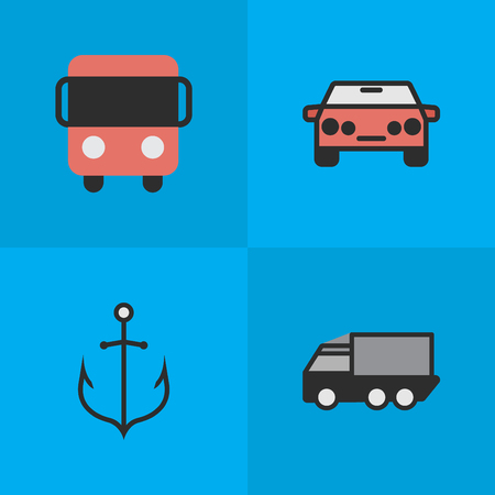 Vector Illustration Set Of Simple Traffic Icons. Elements Lorry, Autobus, Auto And Other Synonyms Car, Auto And Bus.