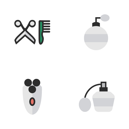 Vector Illustration Set Of Simple Shop Icons. Elements Fragrance, Shaving Machine, Perfume And Other Synonyms Shaving, Scissors And Shaver. Illustration